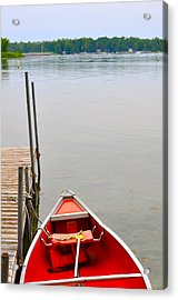 Red Canoe Acrylic Print by Jeremy Evensen