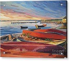 Red Canoe Sunset Acrylic Print