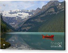 Red Canoes On Lake Louise Acrylic Print by Teresa Zieba