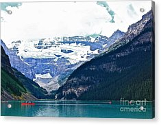 Red Canoes Turquoise Water Acrylic Print by Linda Bianic