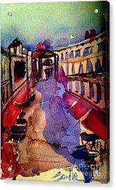 Red Canopies Acrylic Print by Sandra Stone