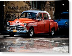 Red Car On Wet Street Acrylic Print