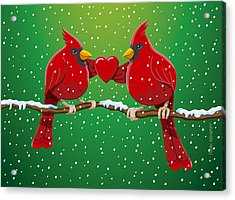 Red Cardinal Bird Pair Heart Christmas Acrylic Print by Frank Ramspott