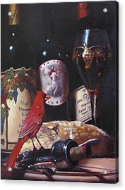 Red Cardinal Red Wine Sin Acrylic Print by Takayuki Harada