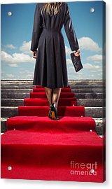 Red Carpet Stairway Acrylic Print by Carlos Caetano