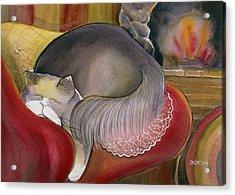 Sleeping Persian Cat On Red Sofa Acrylic Print