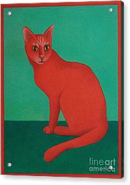 Acrylic Print featuring the painting Red Cat by Pamela Clements