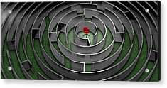 Red Chair In Middle Of Maze Acrylic Print by Panoramic Images