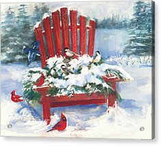 Red Chair In Winter Acrylic Print