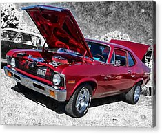 Red Chevy Nova Acrylic Print