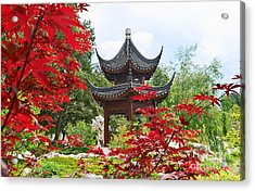 Red - Chinese Garden With Pagoda And Lake. Acrylic Print by Jamie Pham