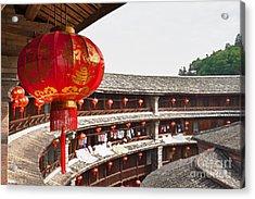 Red Chinese Lantern In A Hakka Tulou  Acrylic Print by Fototrav Print