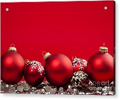 Red Christmas Baubles And Decorations Acrylic Print by Elena Elisseeva