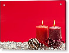 Red Christmas Candles Acrylic Print