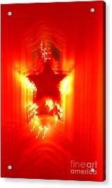 Red Christmas Star Acrylic Print by Gaspar Avila