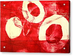 Red Circles Abstract Acrylic Print by Nancy Merkle