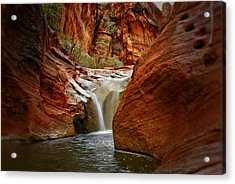 Red Cliffs Waterfall Acrylic Print