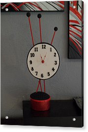 Red Clock Acrylic Print