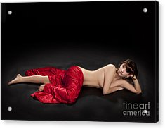Red Cloth Nude 3 Acrylic Print by Kendree Miller