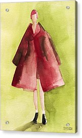 Red Coat - Watercolor Fashion Illustration Acrylic Print by Beverly Brown