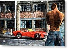 Red Corvette Acrylic Print by Bob Orsillo