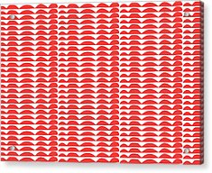 Red Cut Outs- Abstract Pattern Art Acrylic Print by Linda Woods