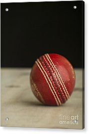 Red Cricket Ball Acrylic Print by Edward Fielding