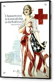 Red Cross World War 1 Poster  1918 Acrylic Print by Daniel Hagerman