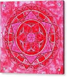 Red Crystal Mandala Acrylic Print by Vlatka Kelc