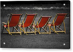 Red Deck Chairs Acrylic Print by Mikhail Pankov