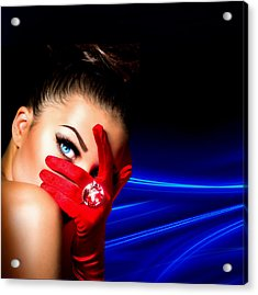 Red Desire Acrylic Print by Karen Showell