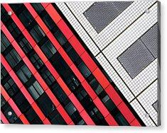 Red Diagonals. Acrylic Print by Greetje Van Son