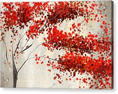 Red Divine- Autumn Impressionist Acrylic Print by Lourry Legarde