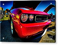 Red Dodge Challenger Vintage Muscle Car Acrylic Print