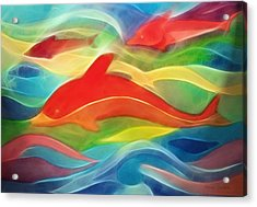 Red Dolphin Acrylic Print by Ann Croon