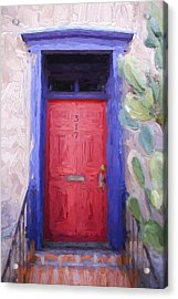 Red Door 317 Tucson Barrio Painterly Effect Acrylic Print