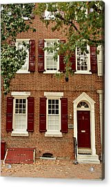 Red Door And Shutters Acrylic Print by Christopher Woods
