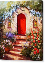 Red Door Acrylic Print by Gail Salitui
