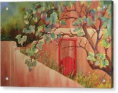 Red Door In Adobe Wall Acrylic Print