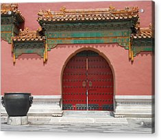 Red Door In The Forbidden City Acrylic Print by Kay Gilley