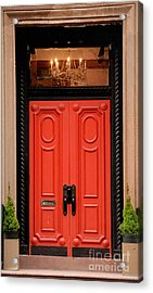 Red Door On New York City Brownstone Acrylic Print