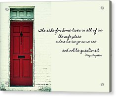 Red Door Quote Acrylic Print by JAMART Photography