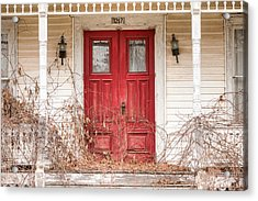 Red Doors - Charming Old Doors On The Abandoned House Acrylic Print by Gary Heller