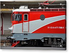 Acrylic Print featuring the photograph Red Electric Train Locomotive Bucharest Romania by Imran Ahmed