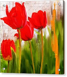 Red Enigma- Red Tulips Paintings Acrylic Print by Lourry Legarde