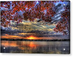 Acrylic Print featuring the photograph Good Bye Till Tomorrow Fall Leaves Sunset Lake Oconee Georgia by Reid Callaway