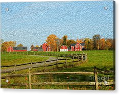 Red Farm House And Barns Acrylic Print