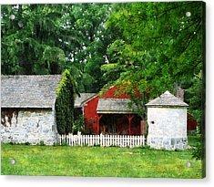 Red Farm Shed Acrylic Print by Susan Savad