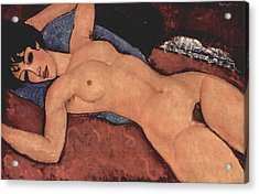 Red Female Nude Painting Acrylic Print by Amedeo Modigliani