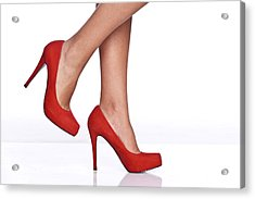 Red Female Shoes Acrylic Print by Juanmonino